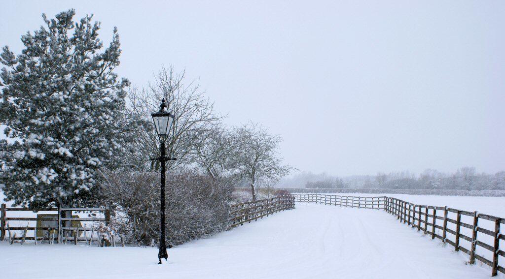 grange farm in snow